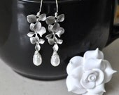Bridal orchid earrings in silver- Swarovski pearls, sterling silver, orchid flowers