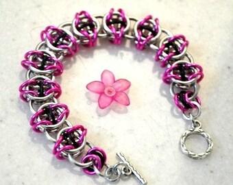 Celtic bracelet, Chain Maille, Pink Bracelet, Silver Bracelet, Chain Maille Jewelry, Girly Bracelet
