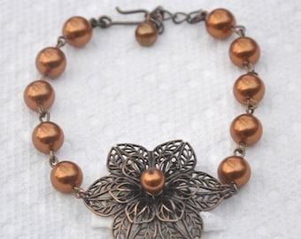 Vintage flower pearly bracelet- Swarovski pearls, vintage brass flower, wedding jewelry, wedding pearl