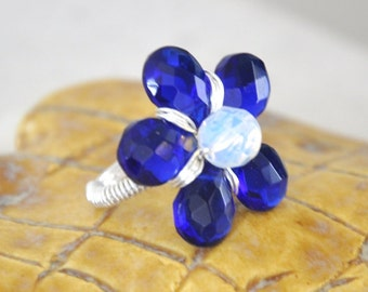 Cocktail Ring, Flower ring - sapphire blue quartz, opalite, non-tarnish silver wire, blue ring, wire wrapped,handmade jewelry
