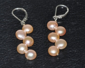 Sterling Silver Earrings,  Dangle Earrings,  Freshwater Pearls (Peach or White),  Leverbacks/French Hook Earwires,  Bridal Jewelry