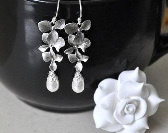 Orchid earrings, Bridal Earrings, Dangle Earrings, Swarovski Pearls, Sterling silver, Orchid flowers, Wedding Jewelry