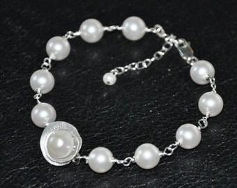 Bridal pearl bracelet - Swarovski pearls, sterling silver- adjustable, Wedding Jewelry, Pearl Bracelet