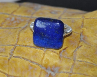 Lapis ring, Wire wrapped ring, Gemstone Rings, Custom Ring, Silver Ring, Fashion Jewelry