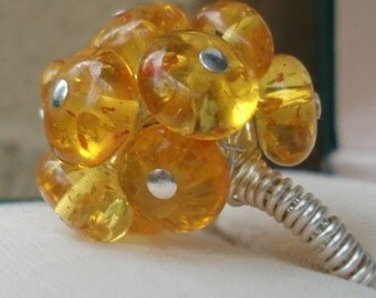 Sunny Yellow Cluster ring