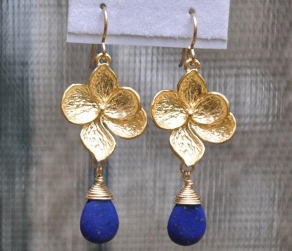 Lapis Earrings, Dangle Earrings, Gold Earrings, Lapis Gemstone teardrop, gold filled wire, gold plated flower, gold filled ear wire
