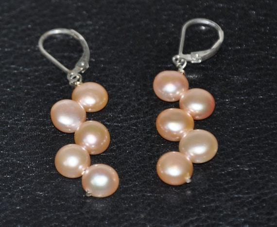 Sterling Silver Earrings, Dangle Earrings, Freshwater Pearls (Peach or White), Leverbacks/French hook earwires,Bridal Jewelry