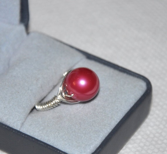 Wire wrapped ring, Custom Ring, Shell Pearl, non-tarnish silver wire, Magenta Ring, Pink Ring, Cocktail Ring