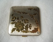 Sale- Vintage Compact, Square Floral  Dorset-Rex Fifth 5th Avenue 1950s. Silver and gold.