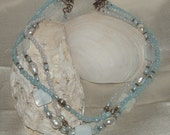 Necklace - Robins Egg Blue Mother of Pearl with Fresh Water Pearls