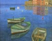 St. Tropez Harbour, Original Painting