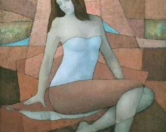 Atomic Tangerine, Female Figure Original Painting