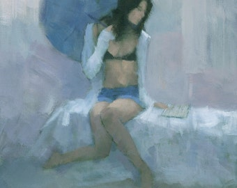 The Blue Parasol - Original  Female Figure Painting