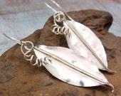 ELEGANCE fold formed sterling silver leaf earrings by Crazy Daisy Designs