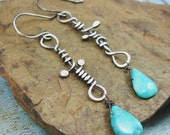 TWISTED SISTER hammered sterling and turquoise long earrings by Crazy Daisy Designs