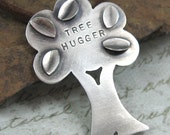 TREE HUGGER sterling silver pendant on leather by Crazy Daisy Designs