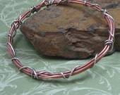 TANGLED BANGLE copper and sterling silver wire bangle bracelet by Crazy Daisy Designs