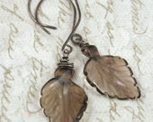 LEAVES smoky quartz sterling silver earrings by Crazy Daisy Designs