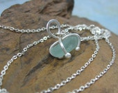SEA DROP genuine beach glass sterling and fine silver pendant by Crazy Daisy Designs