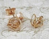 YELLOW gold SCRIBBLE STUDS solid 14kt earrings by Crazy Daisy Designs
