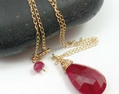 DROP OF BLOOD solid 14k gold ruby briolette necklace by Crazy Daisy Designs
