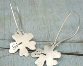 HAWAIIAN HIBISCUS hand cut sterling silver earrings - FREE SHIPPING