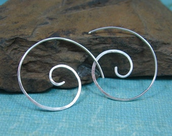 COIL forged and hammered sterling silver spiral earrings by Crazy Daisy Designs