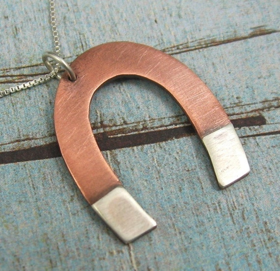 MAGNETIC copper and sterling silver magnet necklace by Crazy Daisy Designs
