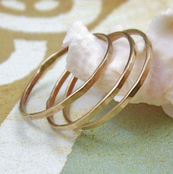 SOLID 14k YELLOW gold hammered stacking ring by Crazy Daisy Designs