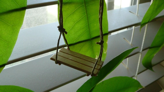 mini Slatted bench tree swing for your plants