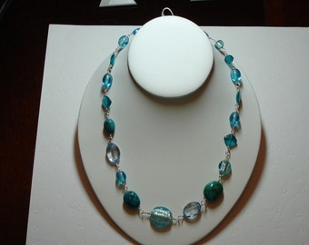 Mixed stones aqua necklace - glass and turquoise