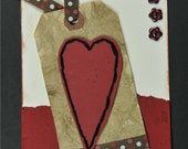 Stitched Heart Tag Love Greeting Card