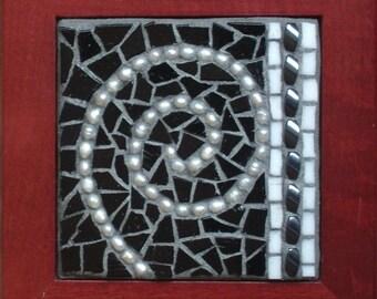 Black and White Spiral, Framed Mosaic Art