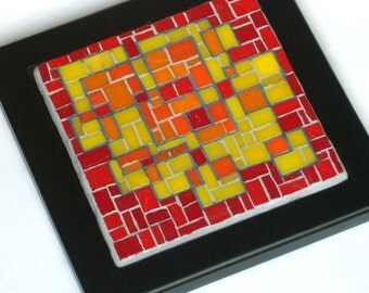 Abstract Squares, Framed Mosaic Art