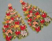 Vintage Hallmark Large Decorated Christmas Tree Gummed Labels / Stickers - Set of 4 - LAST SET