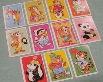 Vintage Snap Cards - Set of 11 - Cute Animal Illustrations