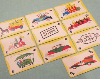 Vintage GO GO GO Cards - Set of 10 - Transportation Illustrations - Yellow Variety