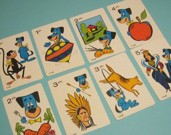 Vintage Huckleberry Hound Cards - Set of 8 - Fun Cartoon Character Illustrations
