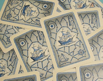 Vintage Nautical Ship Playing Cards - Set of 12 - Colorful Illustration - Blue Version