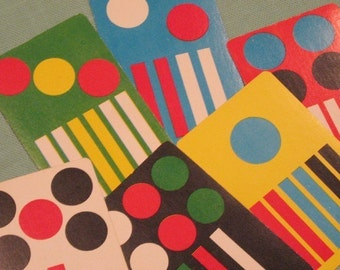 Vintage Mod Spots and Stripes Cards - Set of 6 - Colorful, Bright