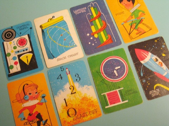 Vintage Space-O Cards - Set of 8 - Outer Space, Future, Science