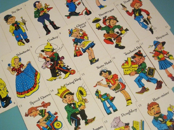 Vintage Old Maid Cards - Set of 19 - Unique Character Illustrations - LAST SET