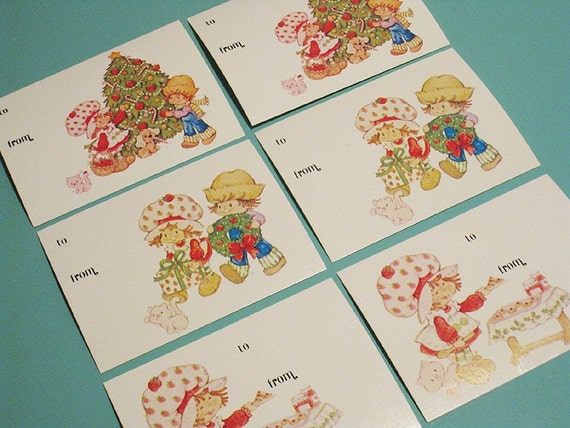 Retro Strawberry Shortcake and Friends Christmas Gift Tags - Set of 6