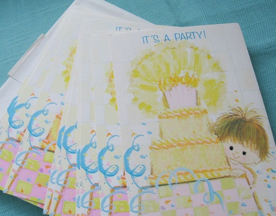 Vintage Rust Craft Birthday Party Invitations (10) - Baby Boy or Baby Girl