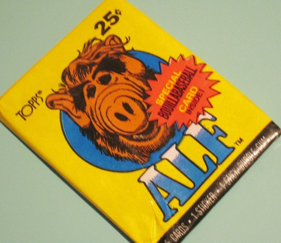 Vintage Alf Cards Sealed Wax Pack - Set of 5 Trading Cards, 1 Sticker and Gum - Unopened