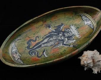 Fabulous Moonbeast of the Apocalypse decoupaged wooden bowl/tray