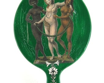 The Three Graces decoupaged antique hand mirror