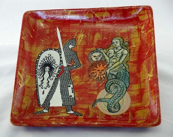 Lamia and the Knight decoupaged wooden tray