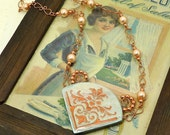 Elegant Polymer Clay Necklace in Soft Pale Blue and Copper