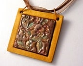 Polymer Clay Pendant with Leaves in Beautiful Fall Colors